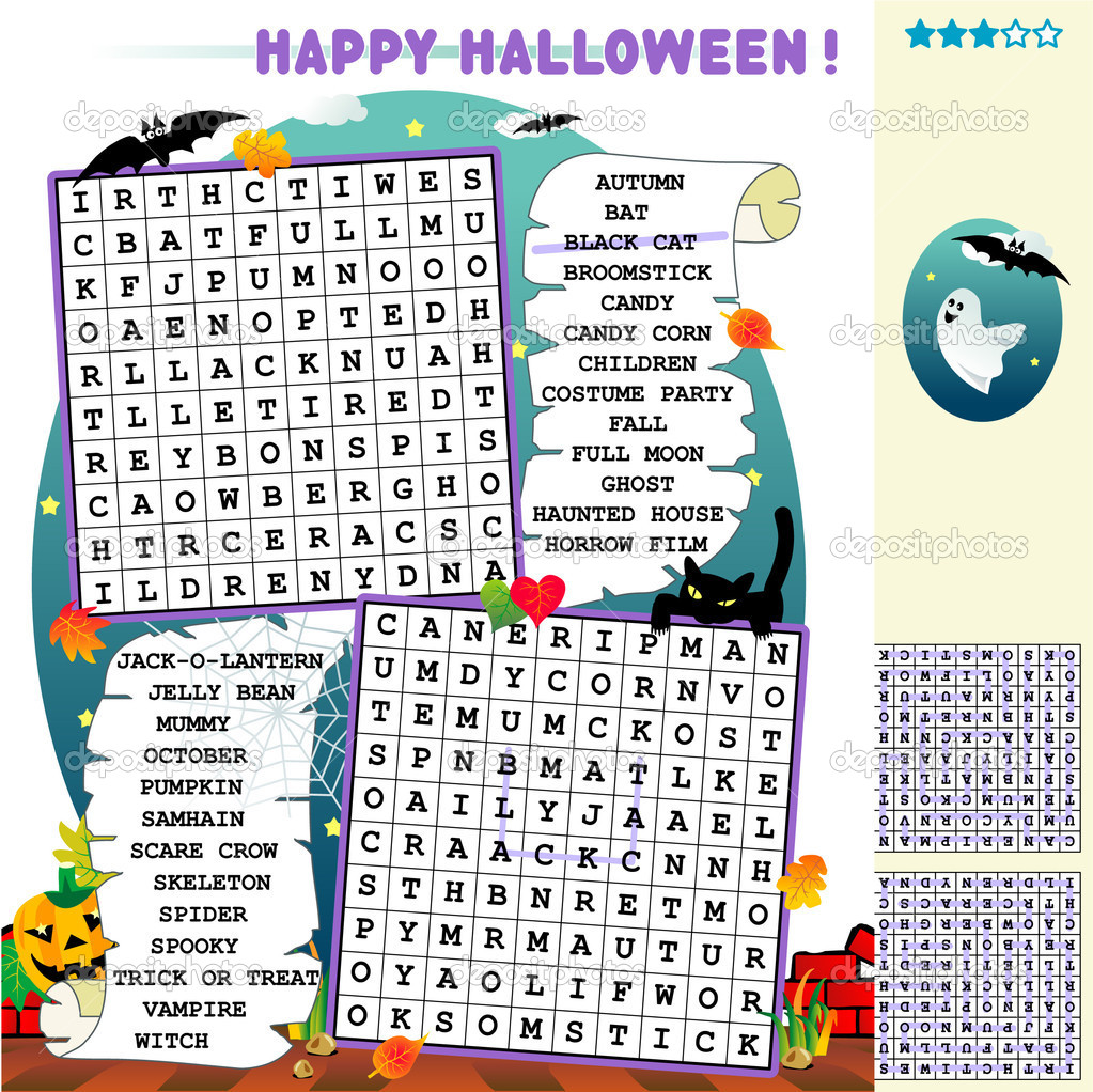Halloween word search puzzle — Stock Vector © ratselmeister #1998120