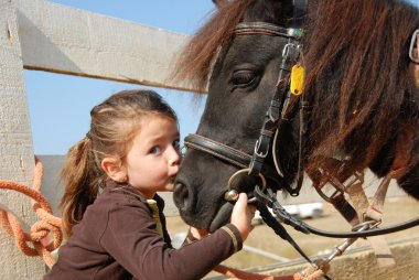 Little girl kissing and her purebred shetland pony stock vector