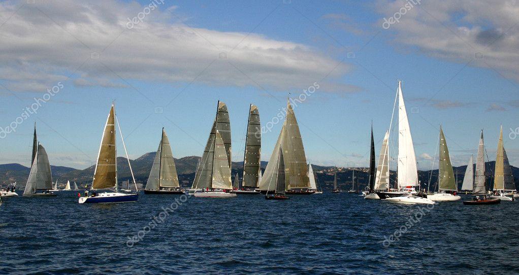 Sailing boats in regata