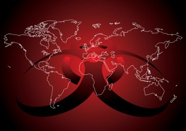 Editable vector illustration of World map with virus sign in red color stock vector