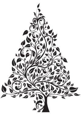 Artistic pine tree isolated over white, vector illustration clip art vector