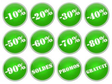 Set icones verts soldes et promotions