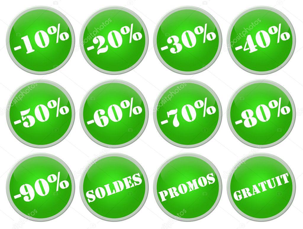 f03e50696e définir des icones verts soldes et promotions — Photographie R ...