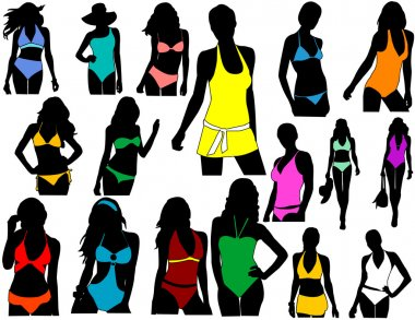 Silhouettes girl in swimwear