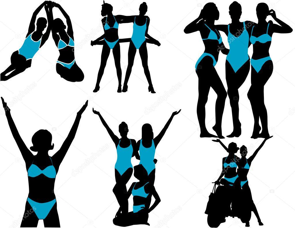 Mujer Fitness Siluetas En Azul TR