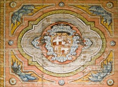 "Картина, постер, плакат, фотообои ""Фреска рыцарей Святого Иоанна эмблема"", артикул 2268049"