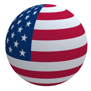 USA flag on the ball isolated on white