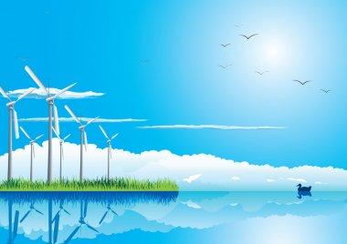 Wind farm in grass over blue sky with birds stock vector