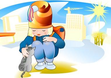 The little girl strokes a grey kitten stock vector