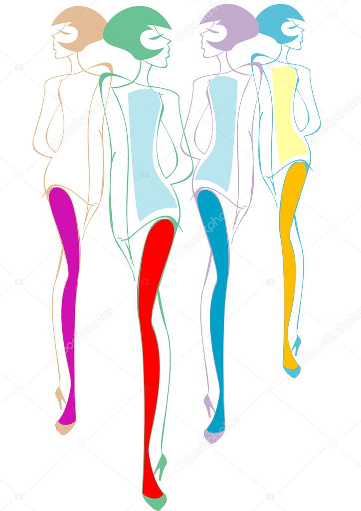cuatro chicas de color blanco — Vector de stock © bonairina #1980792