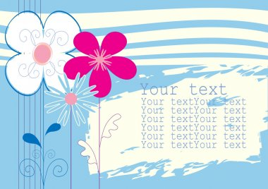 Background blue with flowers