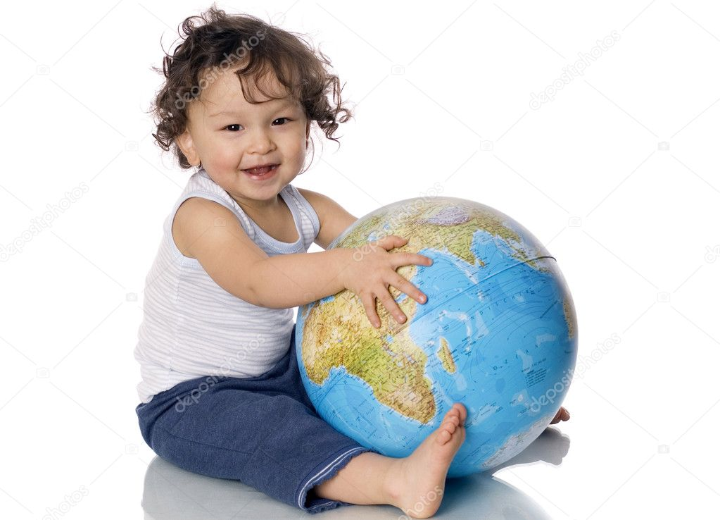 Baby with globe.