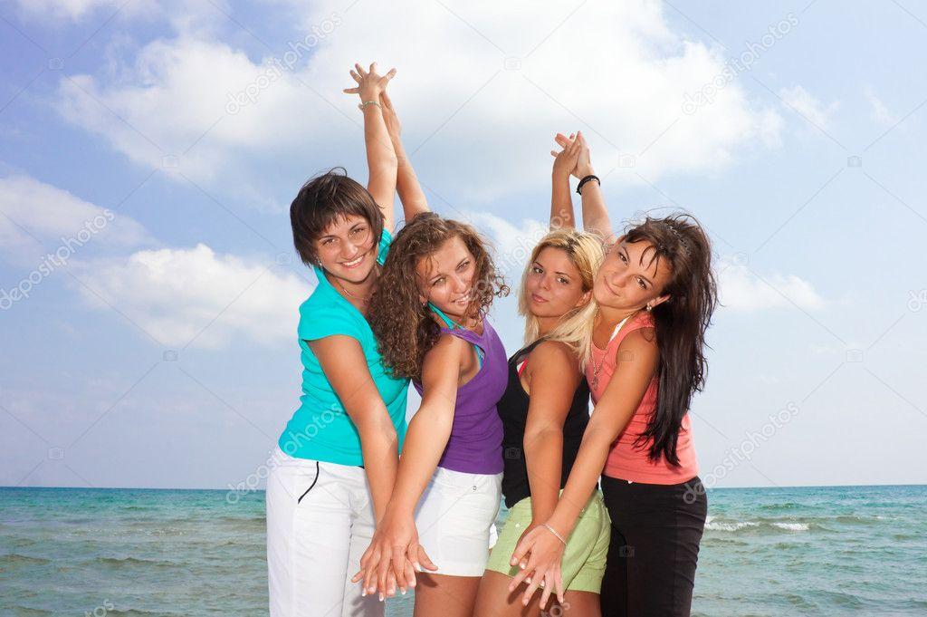 Cute girls on the beach