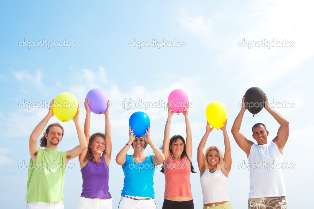 with balloons in many colors