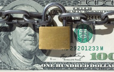 Financial security concept image one hundred dollars locked with padlock stock vector