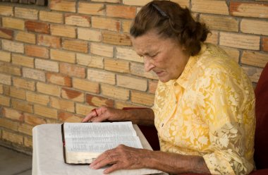 Elderly woman studying her Bible