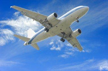 Aeroplane on blue sky background stock vector