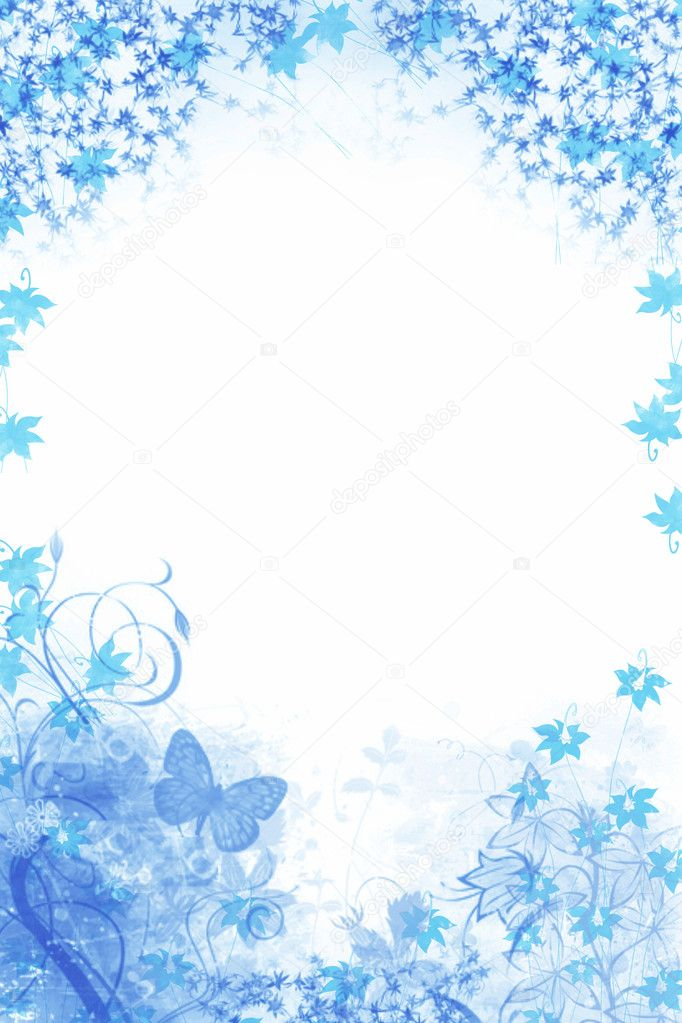 Blue floral Background with butterfly
