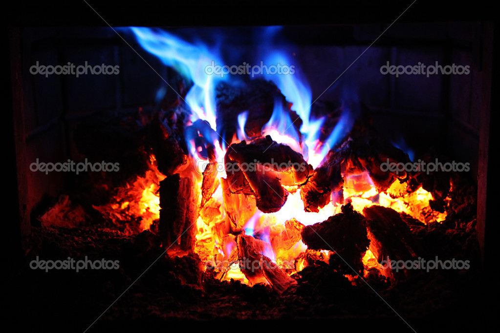 Download royalty-free Fire in Fireplace with red and blue flames stock photo 1909412 from Depositphotos collection of millions of premium high-resolution stock photos