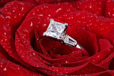 White gold diamond ring in rose