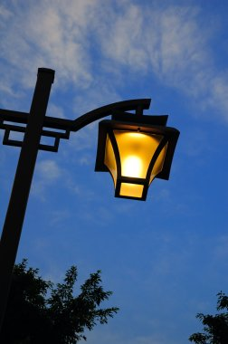 Street light at nightfall