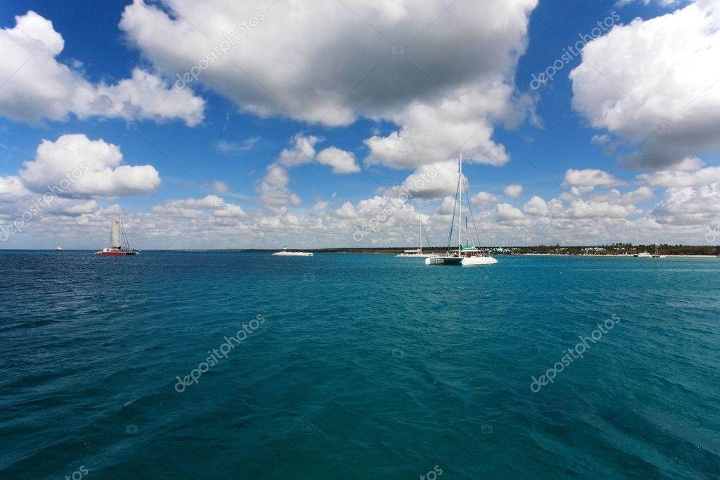 Catamaran boats in Caribbean Sea