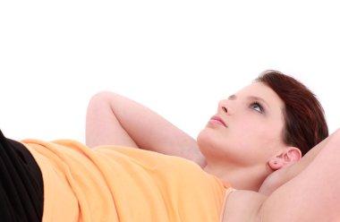 Teenage girl laying