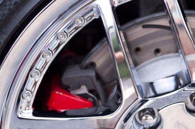 Modern wheel and brake closeup
