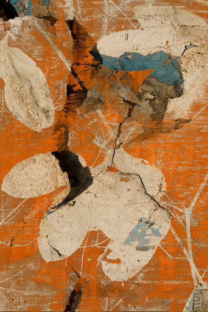 Grunge orange passion fruit vine print