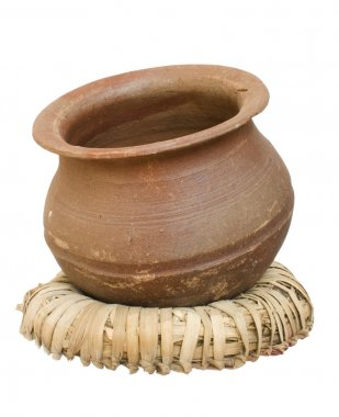 Handmade clay pot on a wicker stand