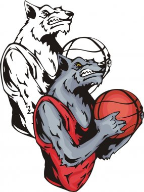 Grinning grey wolf with a basketball.