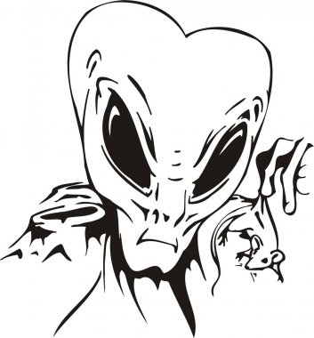 The alien considers the white mouse.