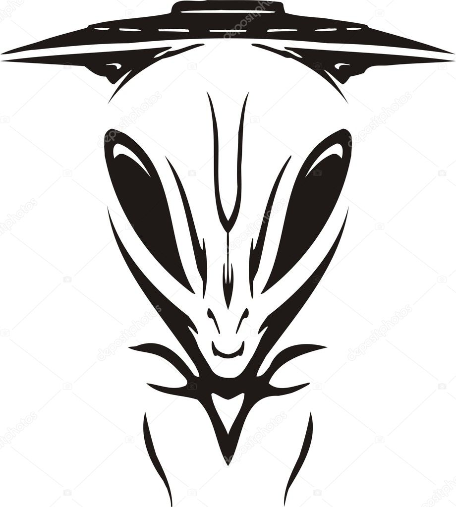 Face of the alien against a spaceship.
