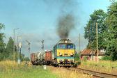 Fotografie Güterzug fährt vom Bahnhof ab