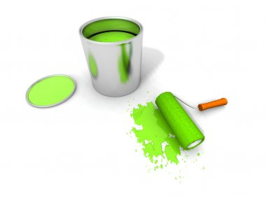 Paint roller, green paint can and splash