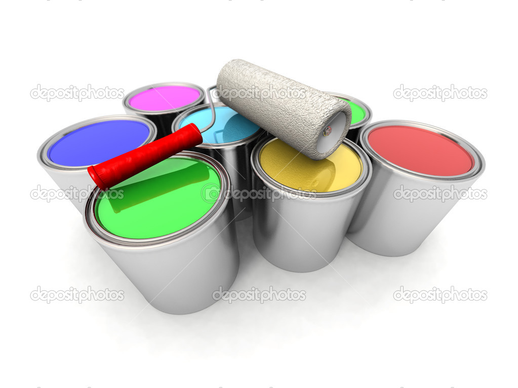 Roll painter and color cans