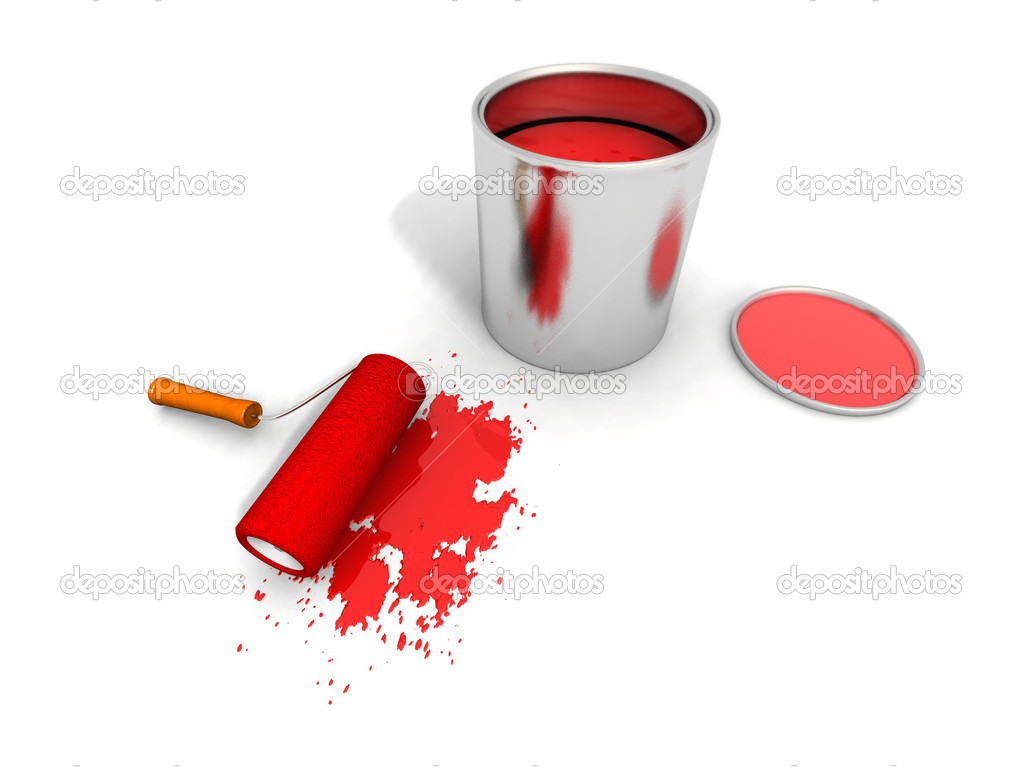 Paint roller, red paint can and splashin