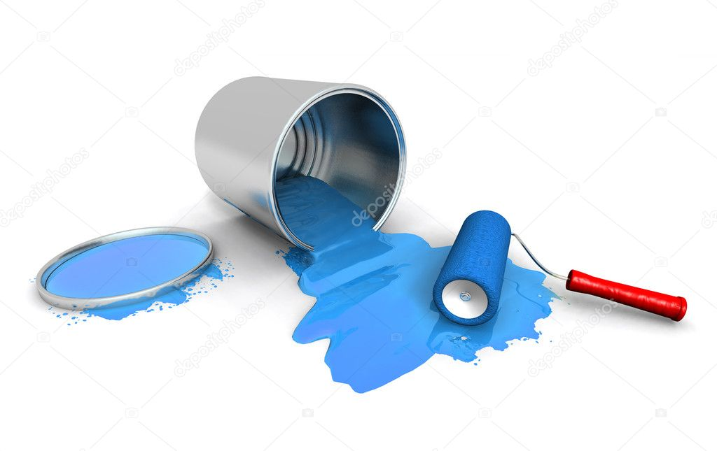 Paint roller, blue can and splashing