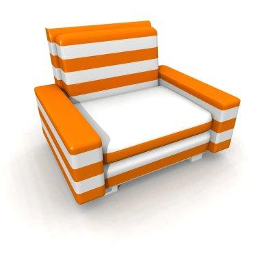 Orange and white armchair