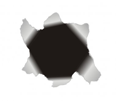 Large hole in the white paper. Vector ba