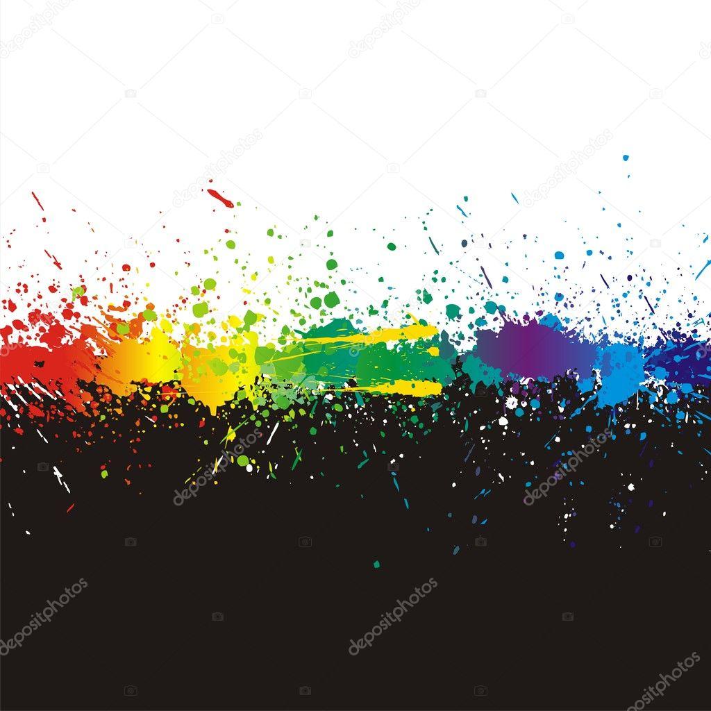 Color paint splashes. Gradient vector ba
