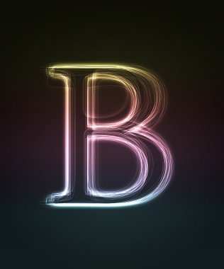 Glowing font. Shiny letter B