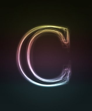 Glowing font. Shiny letter C