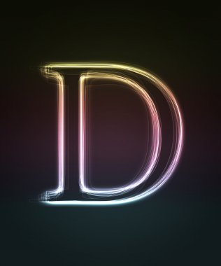 Glowing font. Shiny letter D
