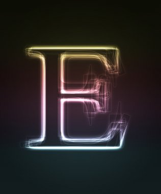 Glowing font. Shiny letter E