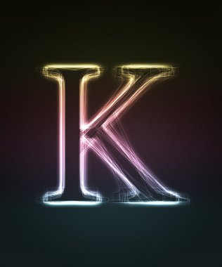 Glowing font. Shiny letter K.