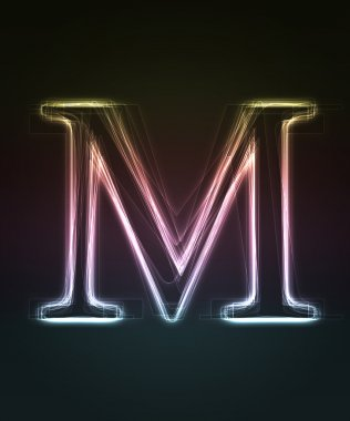 Glowing font. Shiny letter M.
