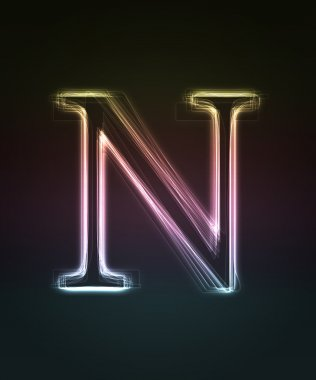 Glowing font. Shiny letter N.