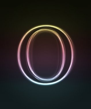 Glowing font. Shiny letter O.