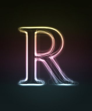 Glowing font. Shiny letter R.